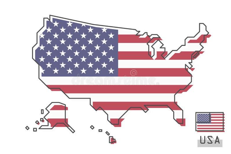 De kaart en de vlag van de Verenigde Staten van Amerika Het moderne eenvoudige ontwerp van het lijnbeeldverhaal Vector stock illustratie