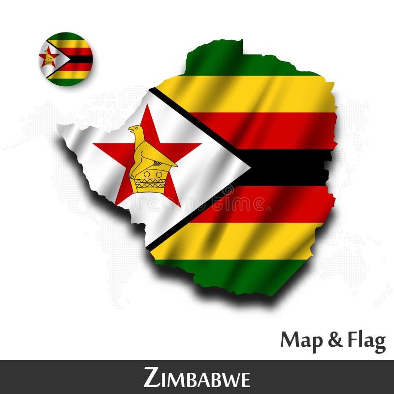 De kaart en de vlag van Zimbabwe Het golven textielontwerp De kaartachtergrond van de puntwereld Vector vector illustratie