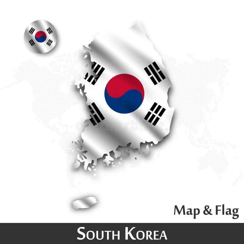 De kaart en de vlag van Zuid-Korea Het golven textielontwerp De kaartachtergrond van de puntwereld Vector stock illustratie
