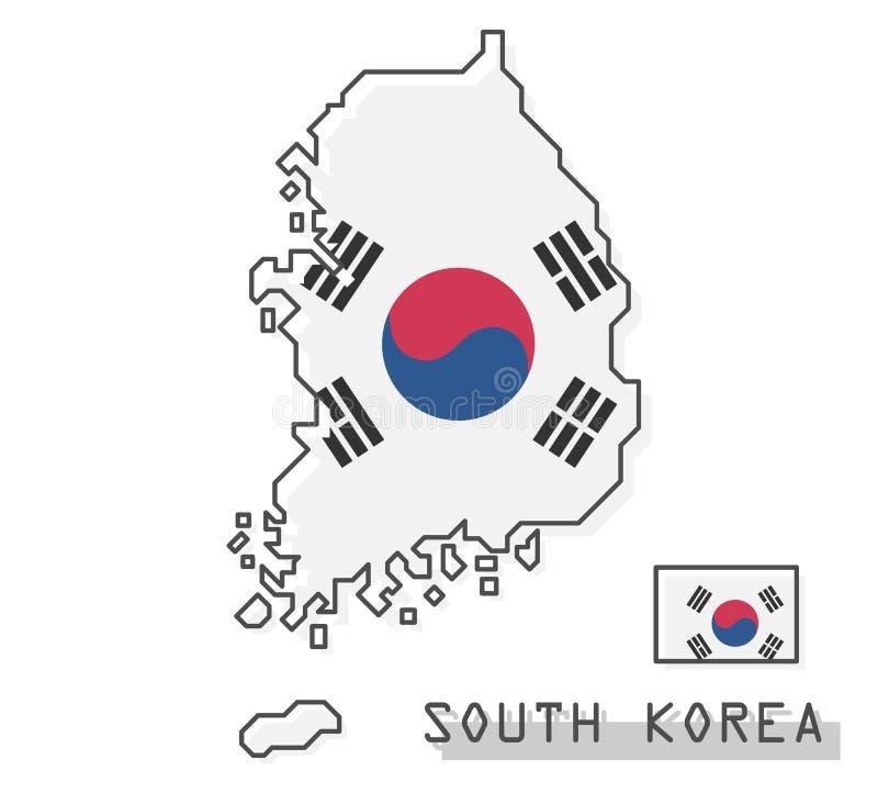 De kaart en de vlag van Zuid-Korea Het moderne eenvoudige ontwerp van het lijnbeeldverhaal Vector royalty-vrije illustratie
