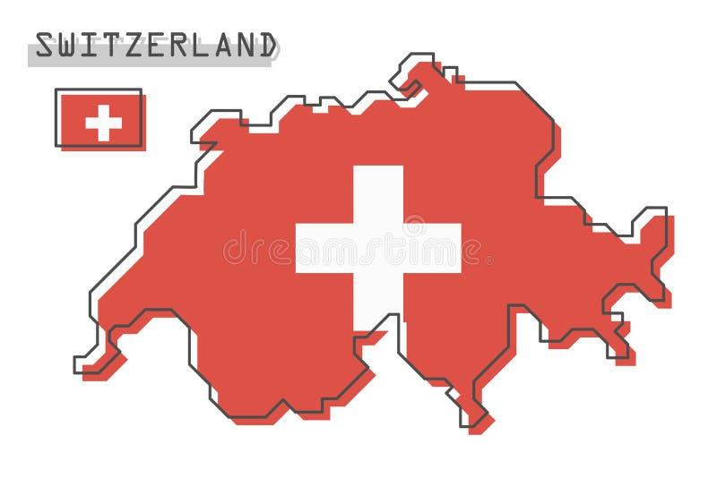 De kaart en de vlag van Zwitserland Het moderne eenvoudige ontwerp van het lijnbeeldverhaal Vector stock illustratie