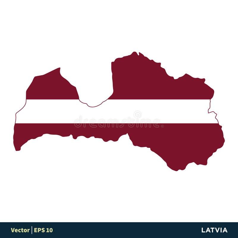 De Kaart en de Vlag Vector de Illustratieontwerp van het Pictogrammalplaatje van de Landen van Letland - van Europa Vectoreps 10 royalty-vrije illustratie