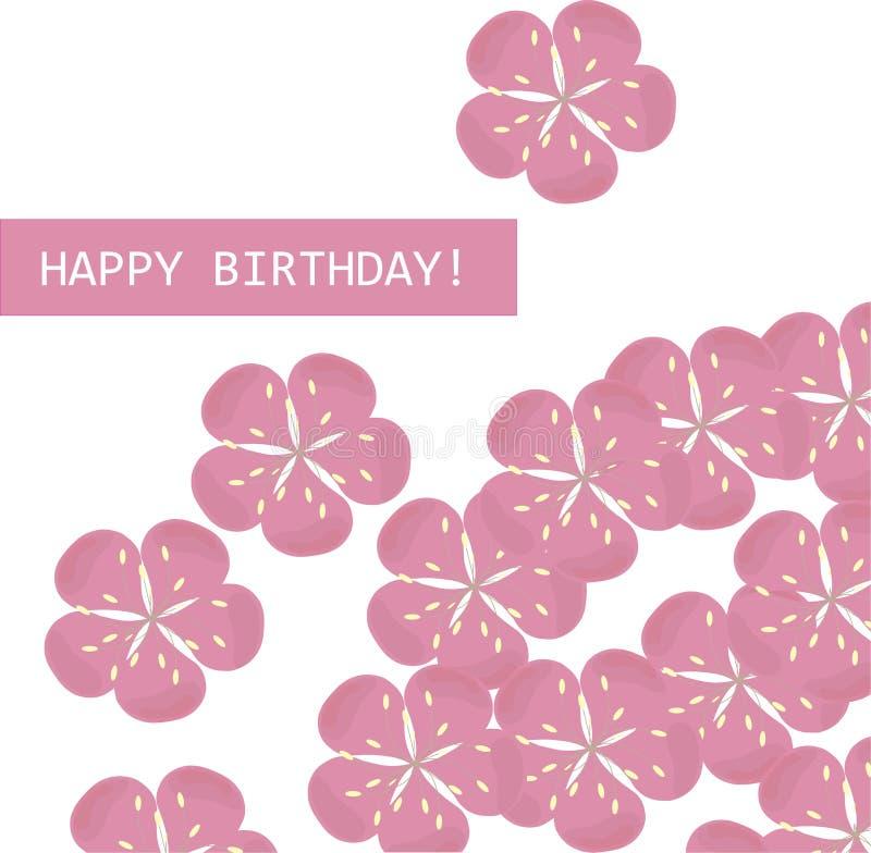 De kaart gelukkige verjaardag van de groet Roze sakurabloemen op witte achtergrond Vector, typografiebanner stock illustratie