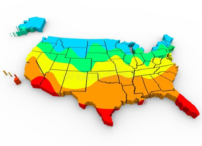 De Kaart Gemiddelde Temperaturen Heetste Koudste R van Verenigde Staten Amerika vector illustratie