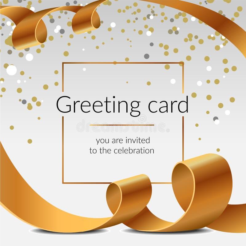 De kaart glanzende linten geïsoleerde vector gouden banden van de vieringsgroet met confettien Vrolijke Kerstmis en Gelukkig Nieu royalty-vrije stock foto