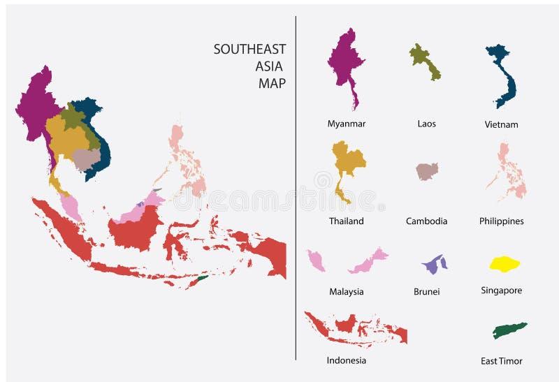 De kaart grafische vector van Zuidoost-Azië - de Gescheiden geïsoleerde kaart van het land voor het ontwerpwerk stock foto