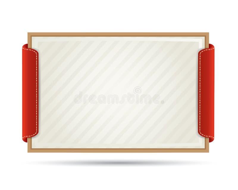 De kaart/het diploma van het document in houten frame stock illustratie