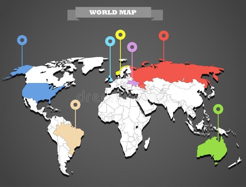 De kaart infographic malplaatje van de wereld royalty-vrije illustratie