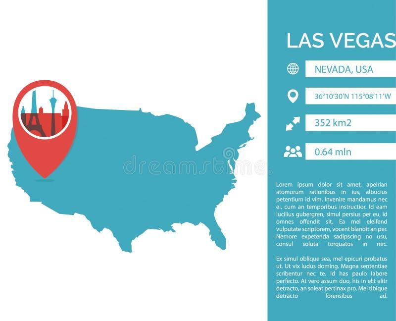 De kaart infographic vector geïsoleerde illustratie van Las Vegas vector illustratie
