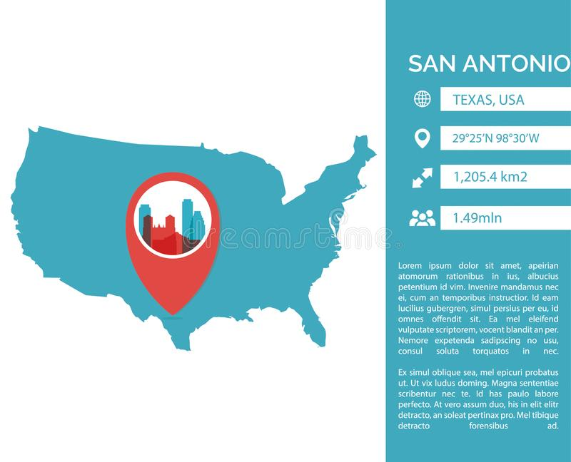 De kaart infographic vector geïsoleerde illustratie van San Antonio royalty-vrije illustratie