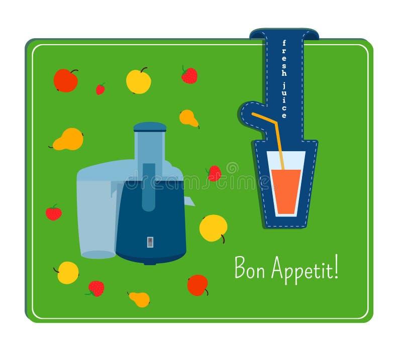 De kaart met het beeld van juicer en het vruchten Etiket met een glas stock illustratie