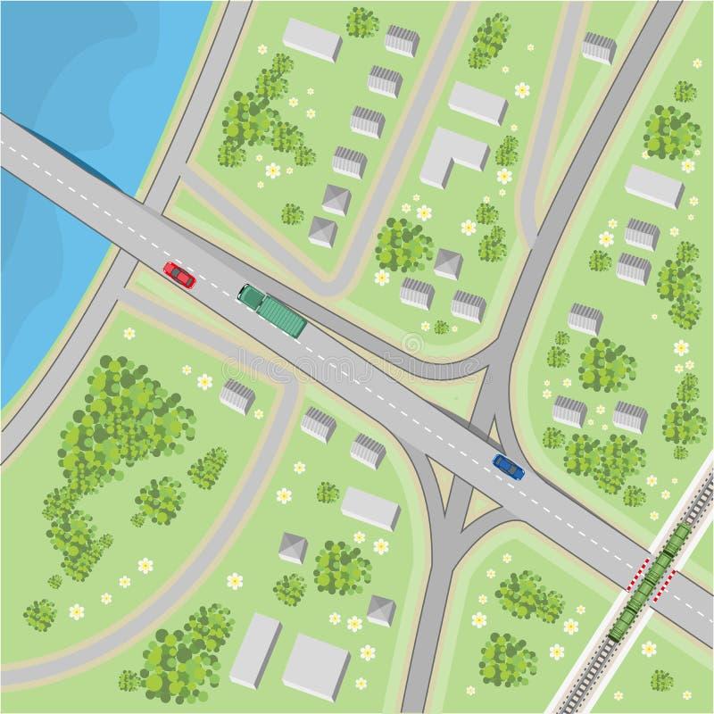 De kaart met het drijven van richtingen Hoogste mening stock illustratie