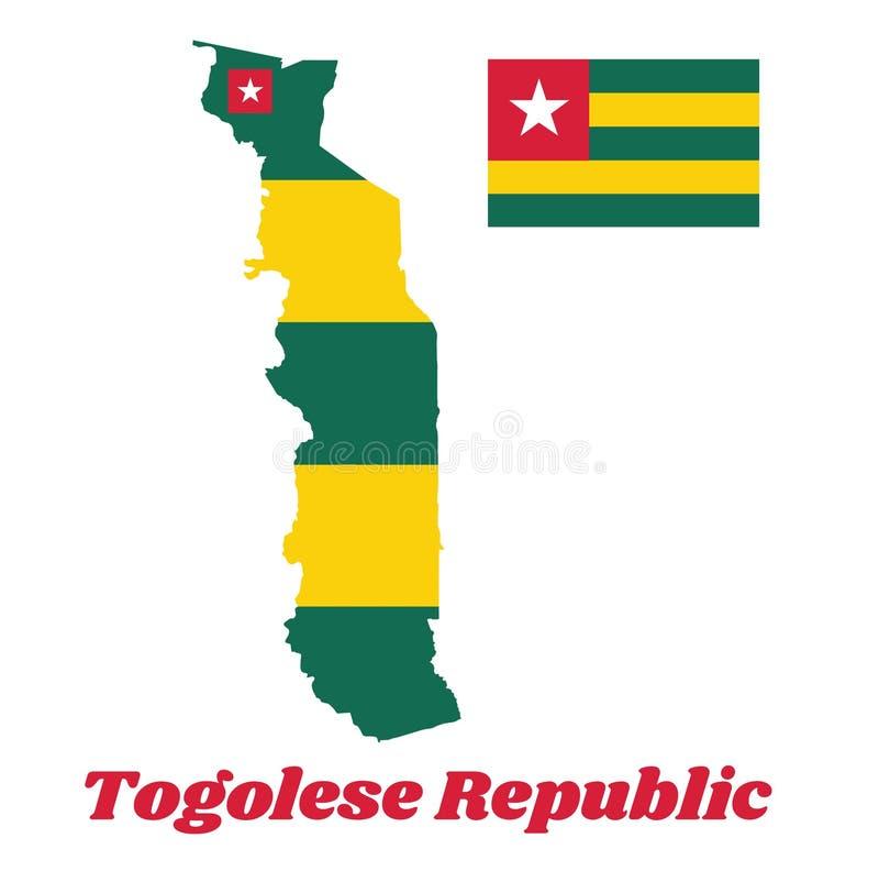 De kaart outliMap schetst en vlag van Togo, Vijf gelijke horizontale banden van greenne en vlag van Togo, Vijf gelijke horizontal vector illustratie