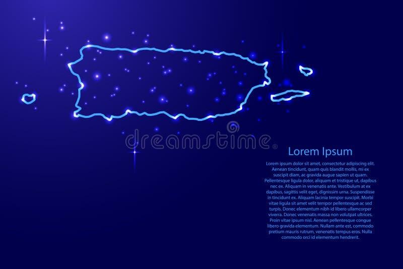 De kaart Puerto Rico van de blauwe, lichtgevende ruimte van het contourennetwerk speelt vectorillustratie mee royalty-vrije illustratie