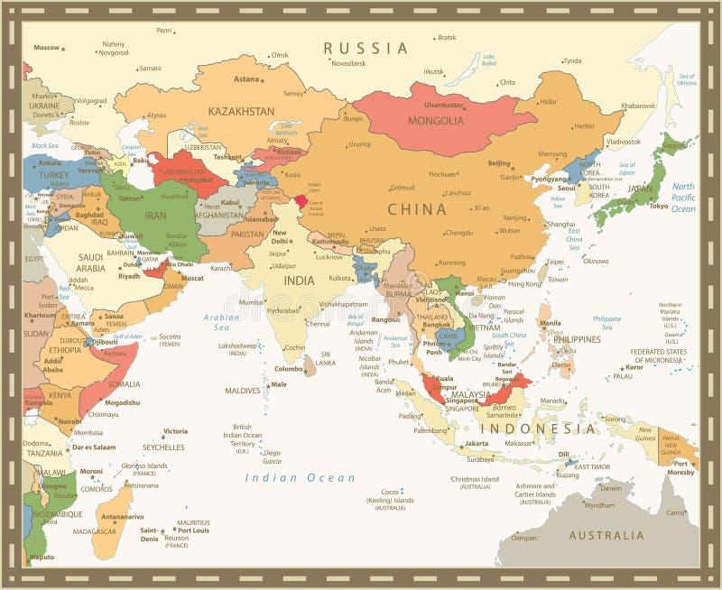De Kaart Retro Kleur van Zuid-Azige royalty-vrije illustratie