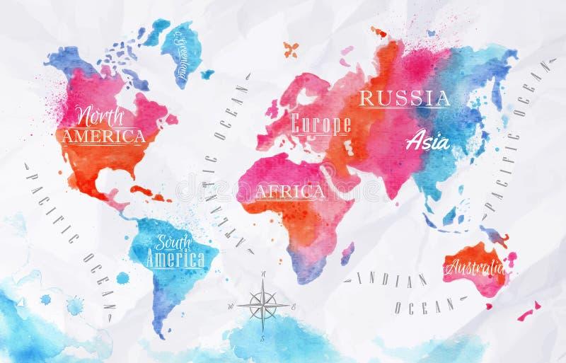 De kaart roze blauw van de waterverfwereld stock illustratie