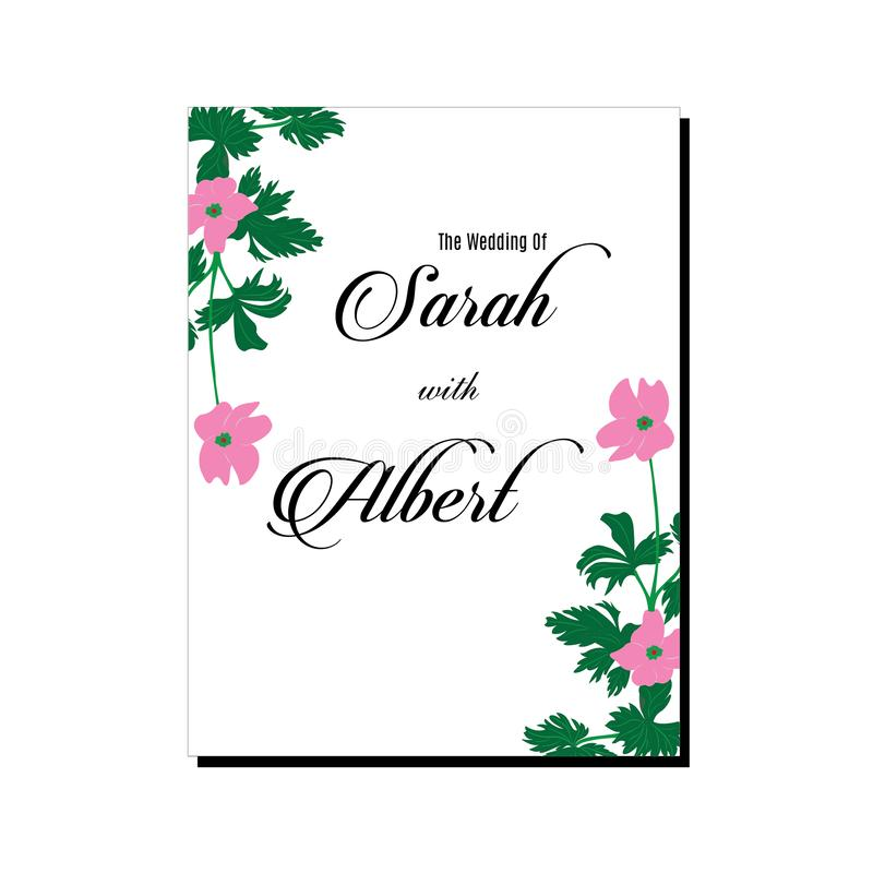 De kaart roze bloem van de huwelijksuitnodiging vector illustratie