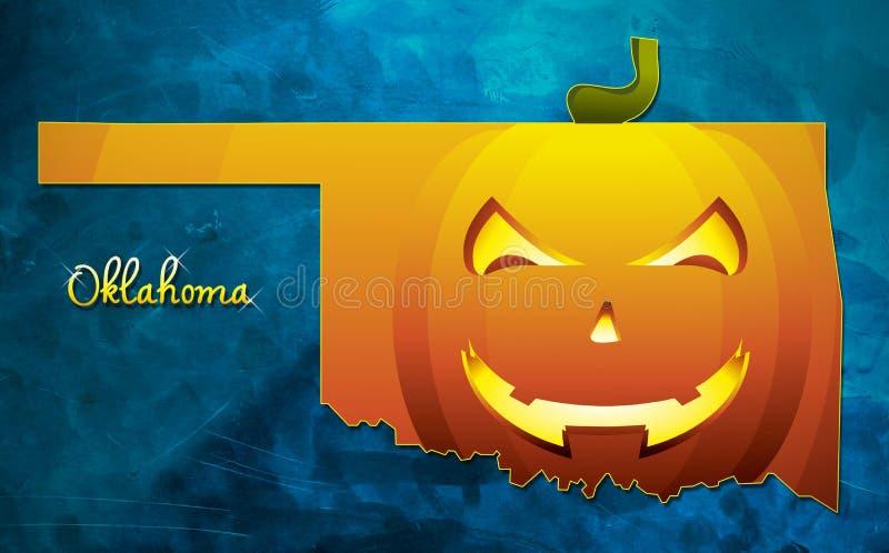 De kaart de V.S. van de staat van Oklahoma met Halloween-de illustratie van het pompoengezicht royalty-vrije illustratie