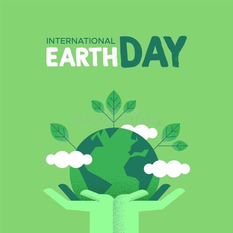 De kaart van de aardedag van menselijke handen die groene planeet houden stock illustratie