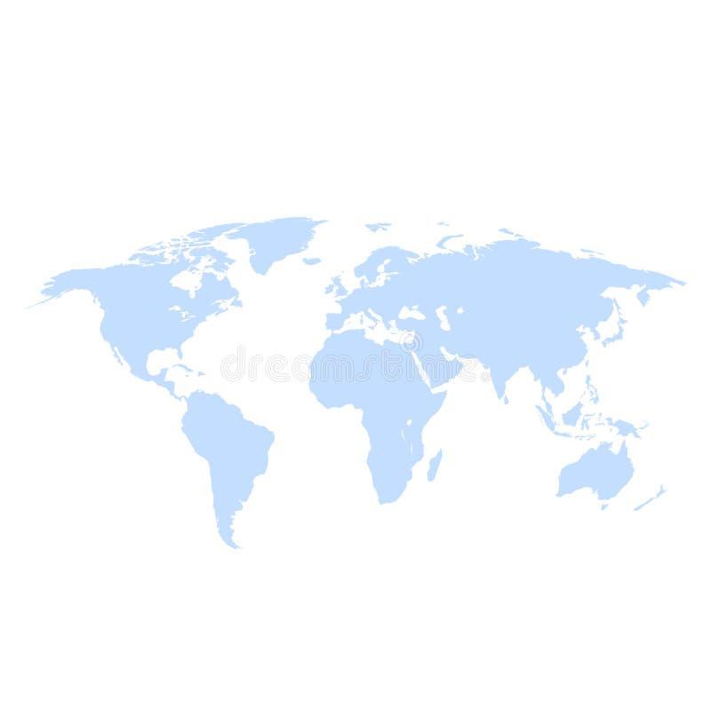 De kaart van de aardewereld op een witte vectorillustratie als achtergrond stock illustratie