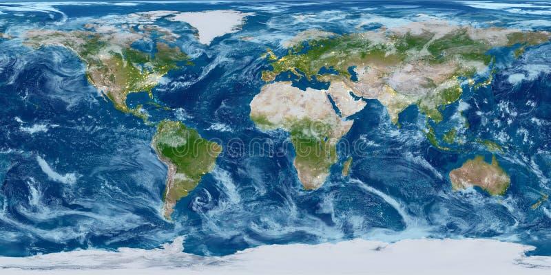 De kaart van de aardrijkskundewereld Gewijzigd gestemd met stadslichten stock fotografie