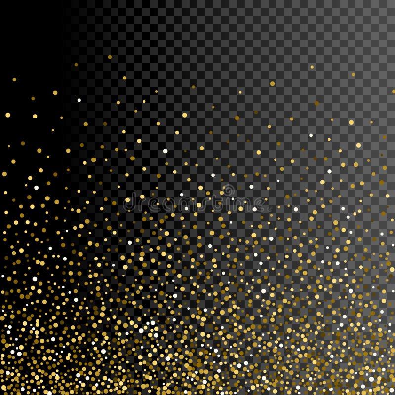 De kaart van de achtergrond fonkelingsgroet ontwerp Schitter gouden decoratie op transparant vector illustratie
