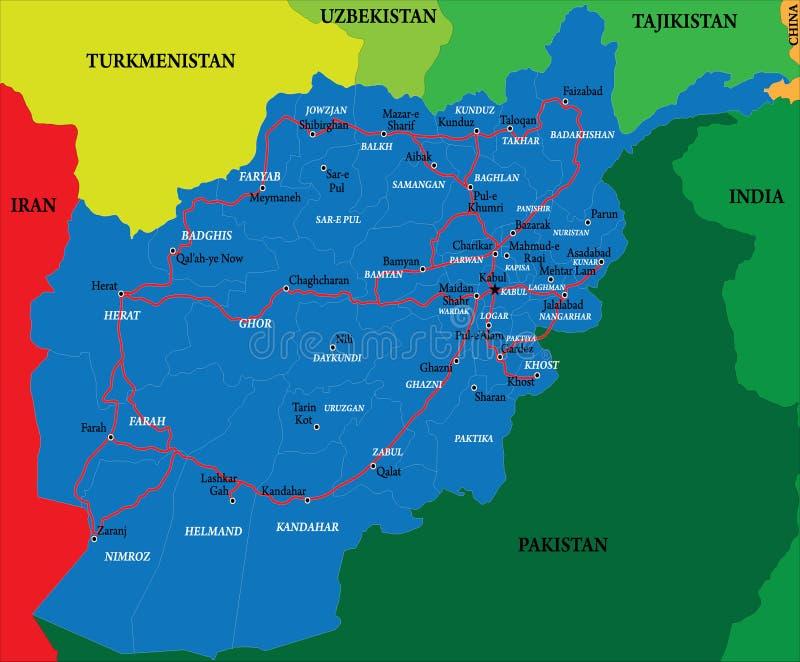De kaart van Afghanistan vector illustratie