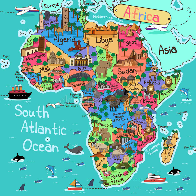 De kaart van Afrika vector illustratie