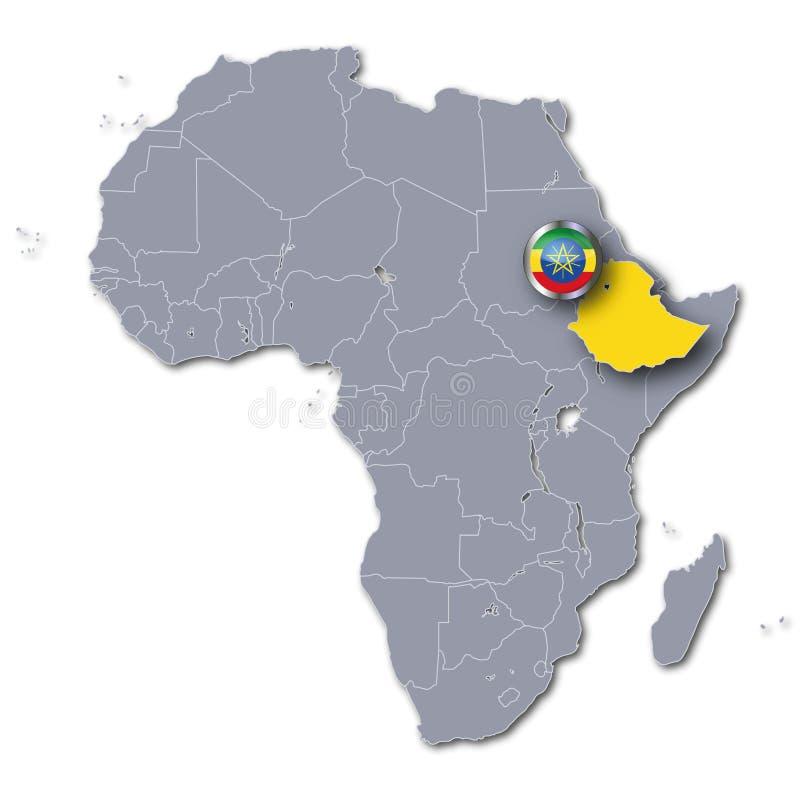 De kaart van Afrika met Ethiopië royalty-vrije illustratie