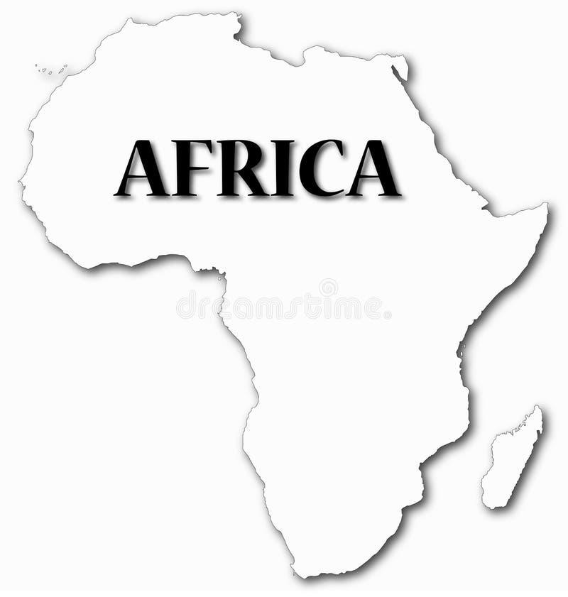 De Kaart van Afrika met Schaduw vector illustratie