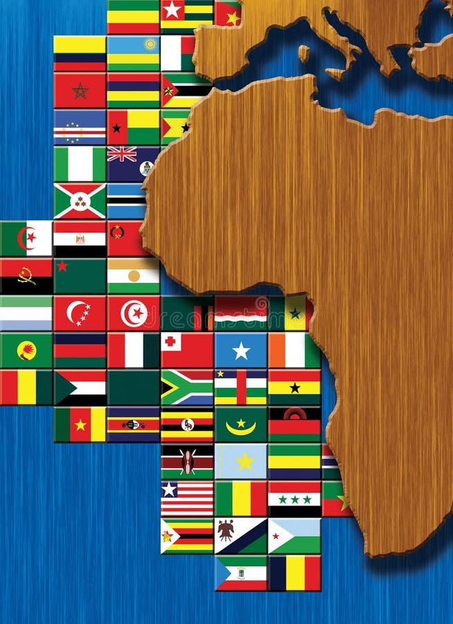 De Kaart van Afrika met vlaggen stock illustratie