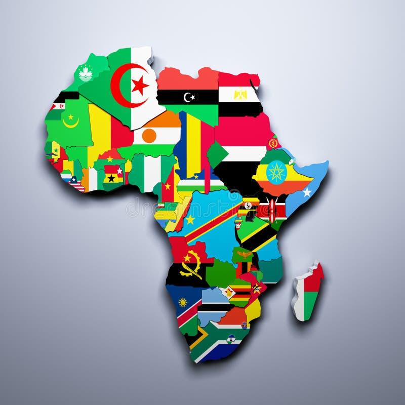 DE KAART VAN AFRIKA MET VLAGGEN VAN DE 3D LANDEN GEEFT TERUG vector illustratie