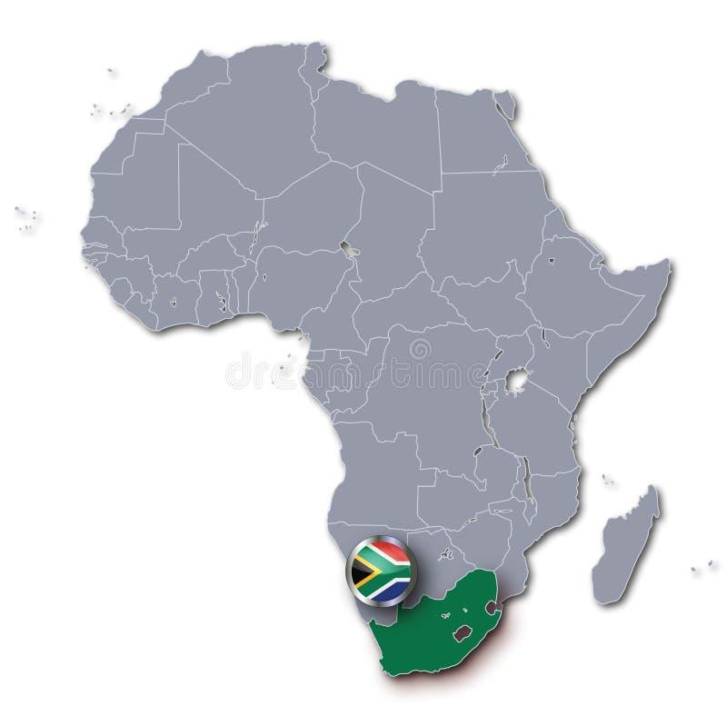 De kaart van Afrika met Zuid-Afrika stock illustratie