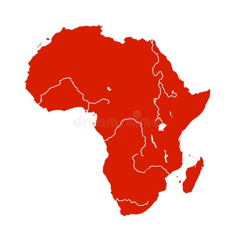 De kaart van Afrika - voorraadvector stock illustratie