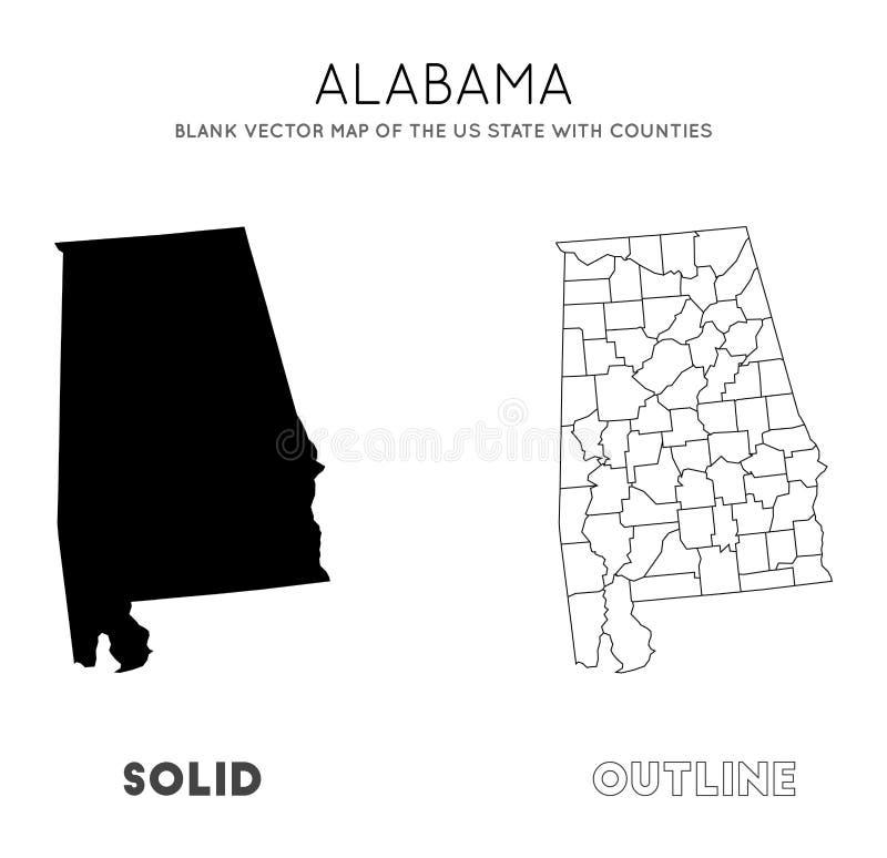 De kaart van Alabama royalty-vrije illustratie