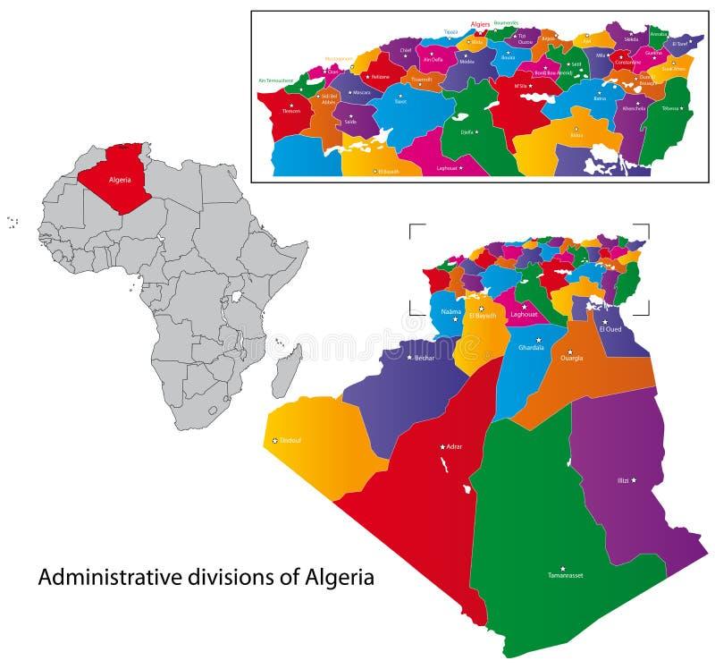 De kaart van Algerije vector illustratie