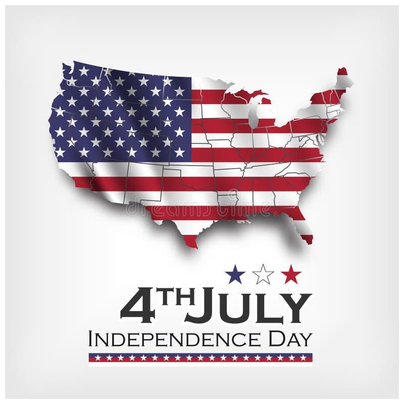 De kaart van Amerika en golvende vlag onafhankelijkheidsdag van de V.S. vierde Juli Vector vector illustratie