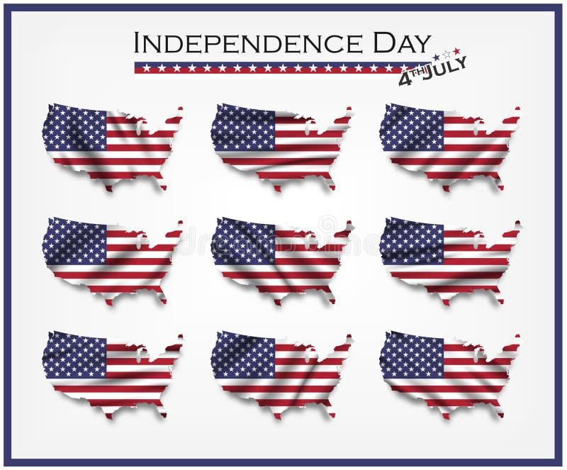 De kaart van Amerika en het golven vlagreeks Onafhankelijkheidsdag van het concept van de V.S. vierde Juli Elementenvector royalty-vrije illustratie