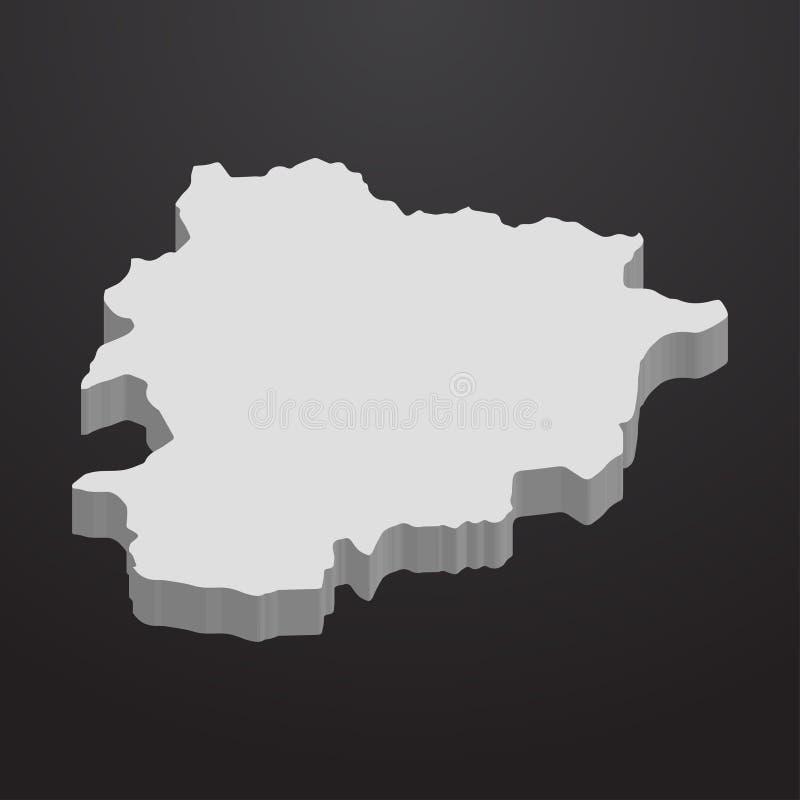 De kaart van Andorra in grijs op een zwarte 3d achtergrond stock illustratie