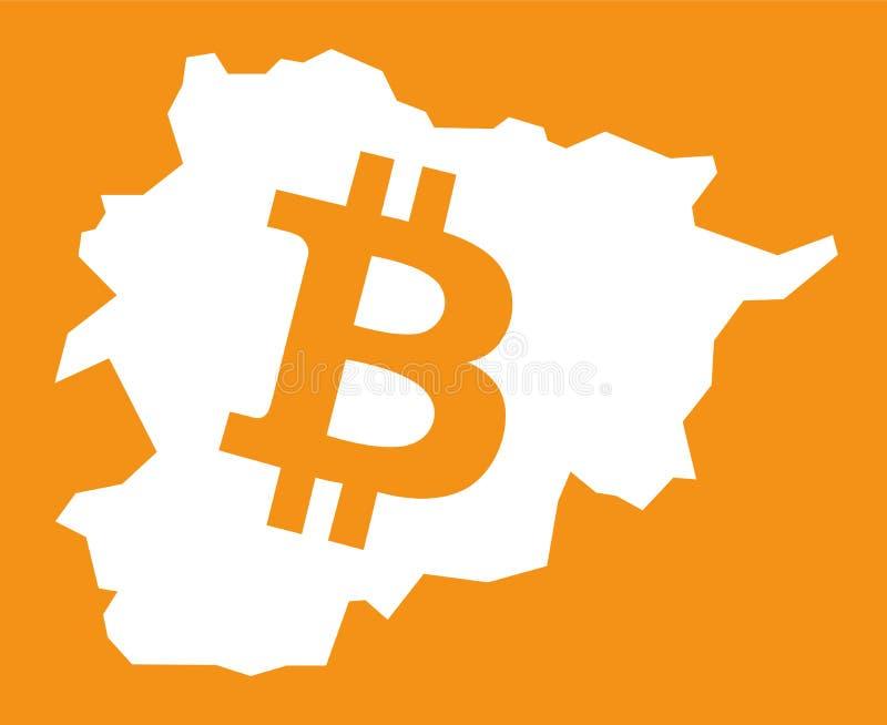 De kaart van Andorra met bitcoincrypto de illustratie van het muntsymbool royalty-vrije illustratie