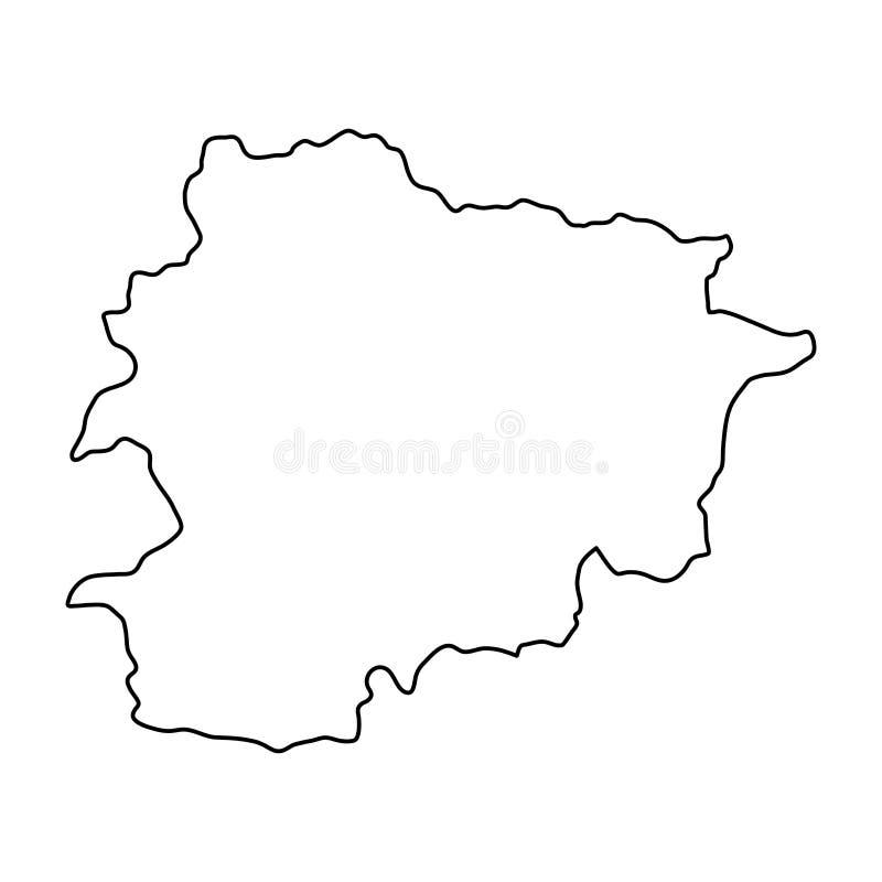 De kaart van Andorra van zwarte contourkrommen op witte achtergrond van vecto vector illustratie