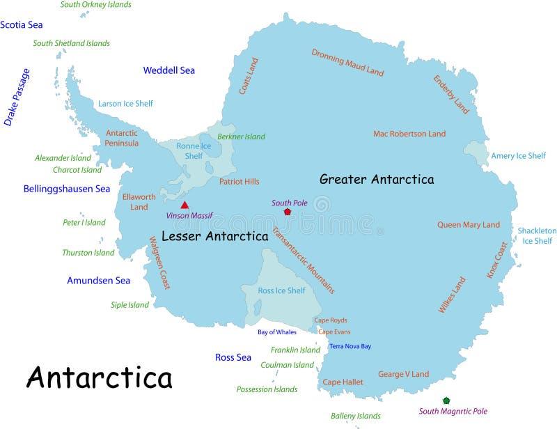 De kaart van Antarctica stock illustratie