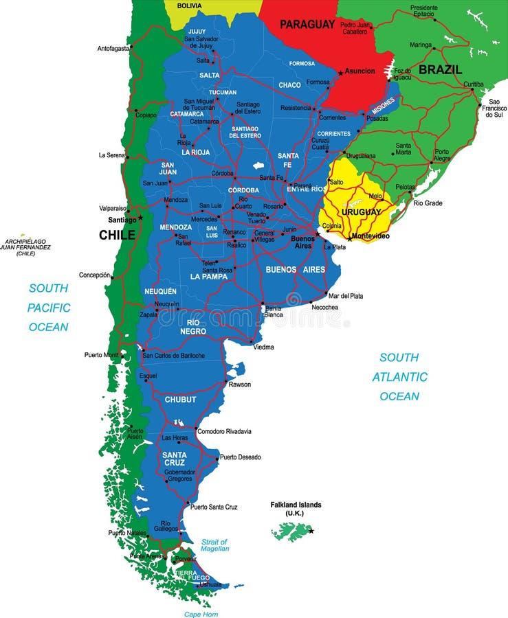 De kaart van Argentinië royalty-vrije illustratie