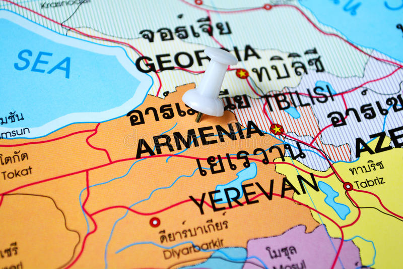 De kaart van Armenië stock foto