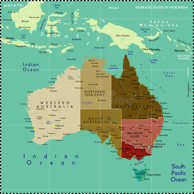 De kaart van Australië. vector illustratie