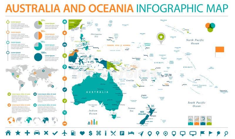 De Kaart van Australië en van Oceanië - Informatie Grafische Vectorillustratie vector illustratie