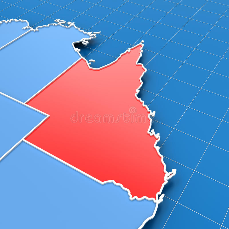 De kaart van Australië met benadrukt Queensland