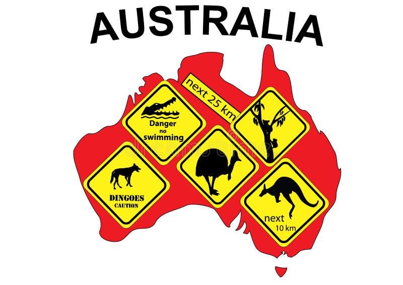 De kaart van Australië met opgenomen tekens vector illustratie