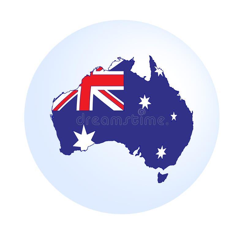 De kaart van Australië met vlag royalty-vrije illustratie