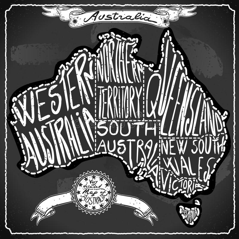 De Kaart van Australië op Uitstekend Met de hand geschreven Bord